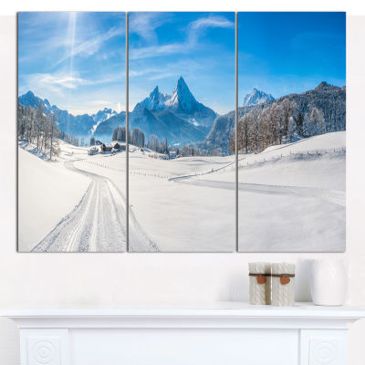 Designart Winter In Bavarian Alps Panorama Landscape Wall Art Canvas - 3 Panels