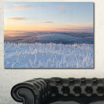 Designart Winter Landscape In Lapland Landscape Wall Art Canvas