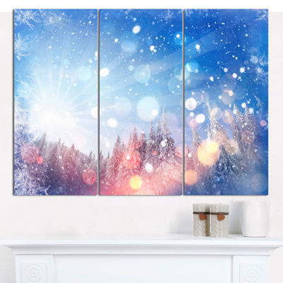 Designart Winter Trees Snowbound Landscape Wall Art Canvas - 3 Panels