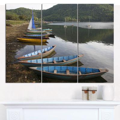 Designart Wonderful View Of Pokhara Boats Boat Wall Art Canvas - 3 Panels