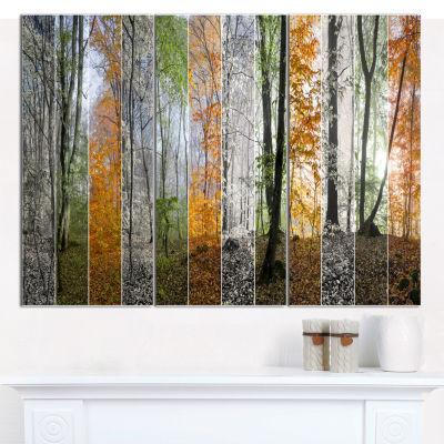 Designart Wood Panorama Changing Seasons LandscapeWall Art Canvas - 3 Panels