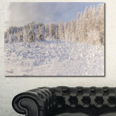 Designart Wood Winter Glade Landscape Wall Art Canvas