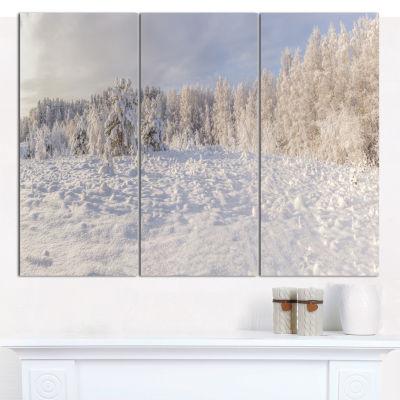 Designart Wood Winter Glade Landscape Wall Art Canvas - 3 Panels