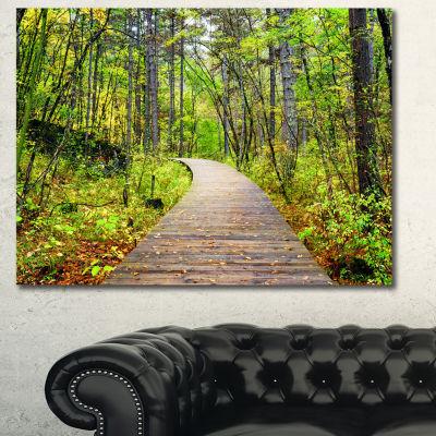 Designart Wooden Boardwalk Across Forest LandscapeWall Art Canvas