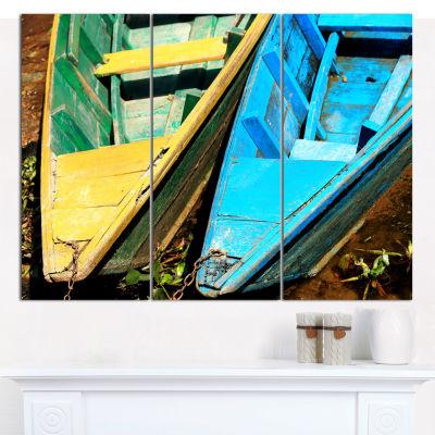 Designart Wooden Boats On Lake Phewa Boat Wall ArtCanvas - 3 Panels
