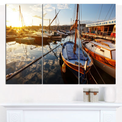 Designart Yachts At Sea Port Of Marseille Boat Wall Art Canvas - 3 Panels