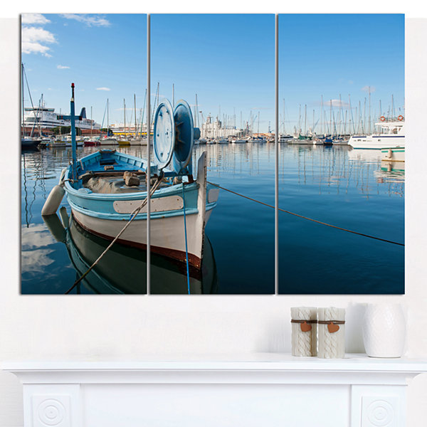 Designart Yachts In Toulon Port France Boat Wall Art Canvas - 3 Panels