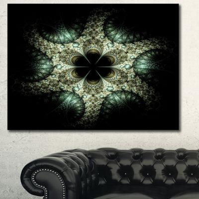 Designart Yellow And Green Fractal Flower AbstractCanvas Art Print