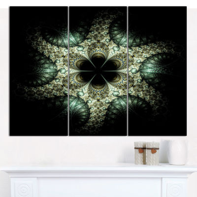 Designart Yellow And Green Fractal Flower AbstractWall Art Canvas - 3 Panels