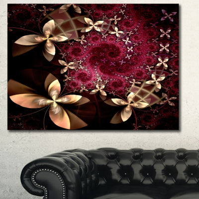 Designart Yellow And Red Fractal Flower Pattern Abstract Wall Art Canvas