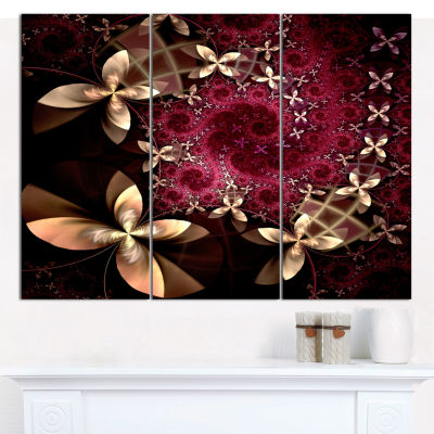 Designart Yellow And Red Fractal Flower Pattern Abstract Wall Art Canvas - 3 Panels