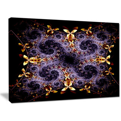 Designart Yellow And Violet Fractal Flower Abstract Wall Art Canvas
