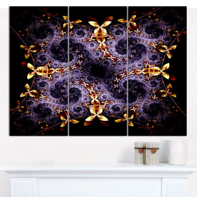 Designart Yellow And Violet Fractal Flower Abstract Wall Art Canvas - 3 Panels