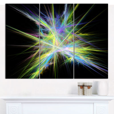 Designart Yellow Blue Chaos Multicolored Rays Abstract Canvas Wall Art - 3 Panels