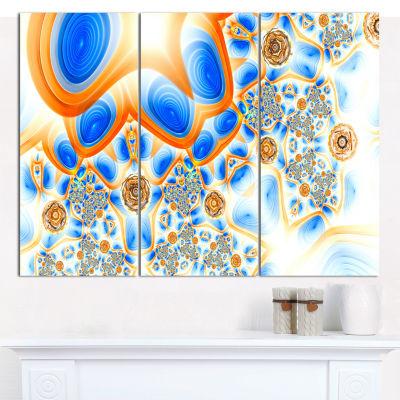 Designart Yellow Blue Exotic Pattern Abstract WallArt Canvas - 3 Panels