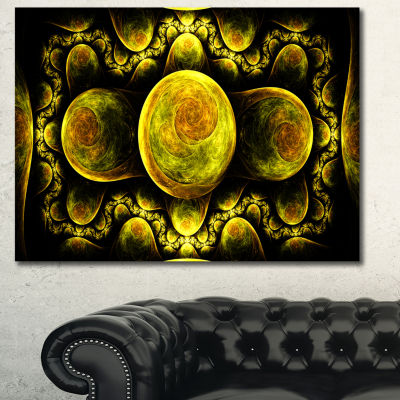 Designart Yellow Exotic Fractal Pattern Abstract Art On Canvas