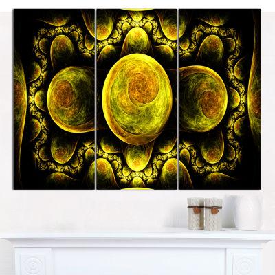 Designart Yellow Exotic Fractal Pattern Abstract Art On Canvas - 3 Panels