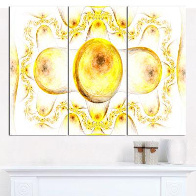 Designart Yellow Exotic Pattern On White AbstractArt On Canvas - 3 Panels