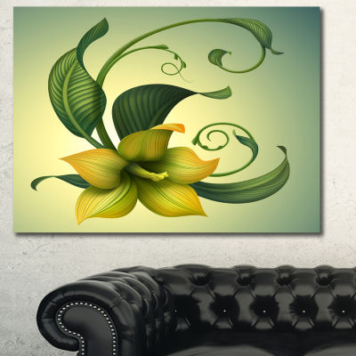 Designart Yellow Fantasy Flower Floral Wall Art Canvas