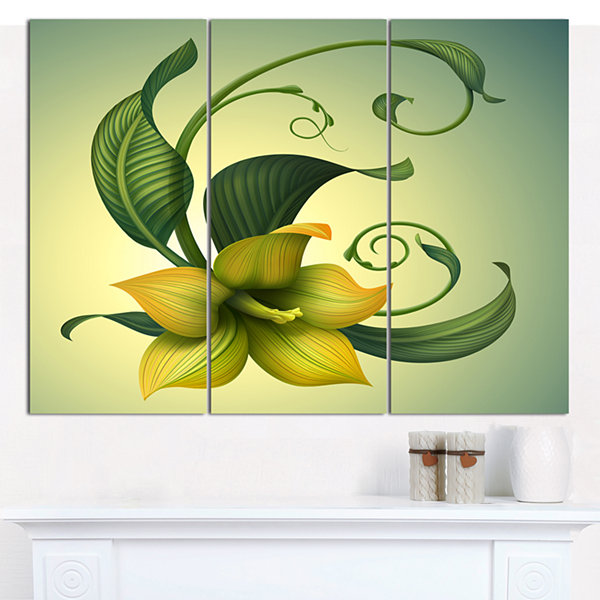 Designart Yellow Fantasy Flower Floral Wall Art Canvas - 3 Panels