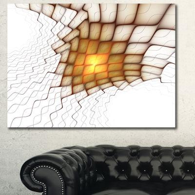 Designart Yellow Flames On White Blocks Abstract Art On Canvas