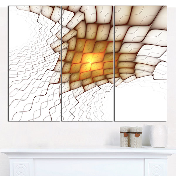 Designart Yellow Flames On White Blocks Abstract Art On Canvas - 3 Panels