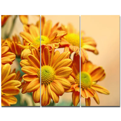 Designart Yellow Flowers In The Garden Floral WallArt Canvas - 3 Panels