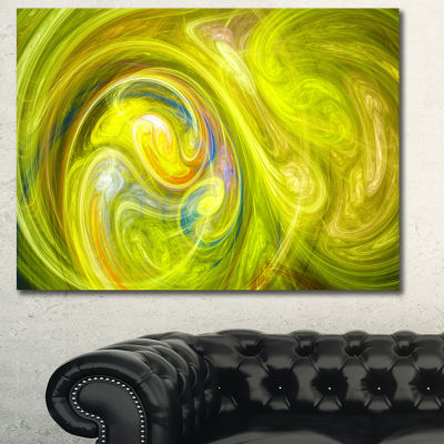 Designart Yellow Fractal Abstract Illustration Abstract Canvas Wall Art