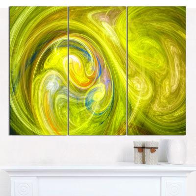 Designart Yellow Fractal Abstract Illustration Abstract Canvas Wall Art - 3 Panels