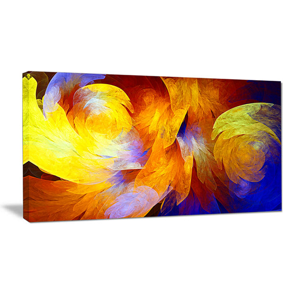 Designart Yellow Fractal Abstract Pattern AbstractArt On Canvas