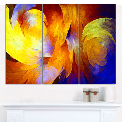 Designart Yellow Fractal Abstract Pattern AbstractArt On Canvas - 3 Panels