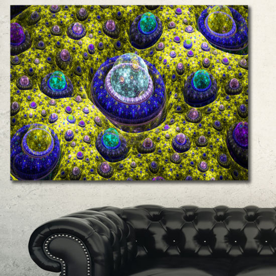 Designart Yellow Fractal Exotic Planet Abstract Wall Art Canvas