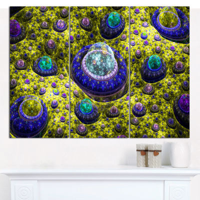 Designart Yellow Fractal Exotic Planet Abstract Wall Art Canvas - 3 Panels