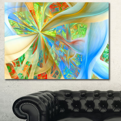 Designart Yellow Fractal Exotic Plant Stems Abstract Wall Art Canvas
