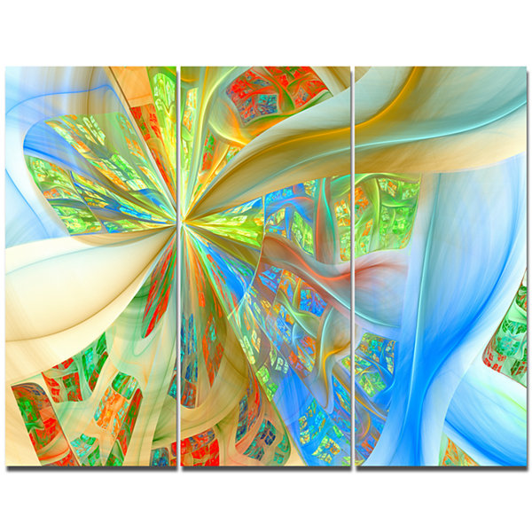 Designart Yellow Fractal Exotic Plant Stems Abstract Wall Art Canvas - 3 Panels
