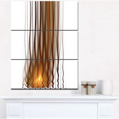 Designart Yellow Fractal Flames Pattern Abstract Art On Canvas - 3 Panels
