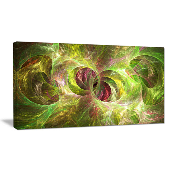 Designart Yellow Fractal Ornamental Glass AbstractWall Art Canvas