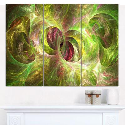Designart Yellow Fractal Ornamental Glass AbstractWall Art Canvas - 3 Panels