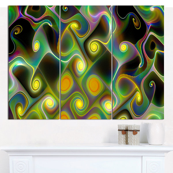 Designart Yellow Fractal Pattern With Swirls Abstract Wall Art Canvas - 3 Panels