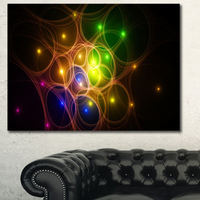 Designart Yellow Fractal Space Circles Abstract Wall Art Canvas