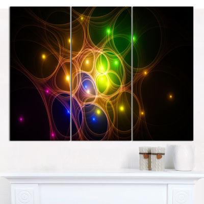 Designart Yellow Fractal Space Circles Abstract Wall Art Canvas - 3 Panels