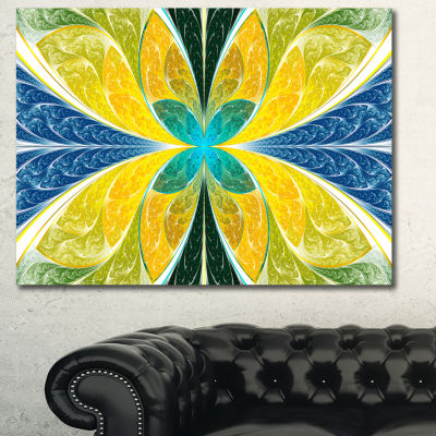Designart Yellow Fractal Stained Glass Abstract Wall Art Canvas