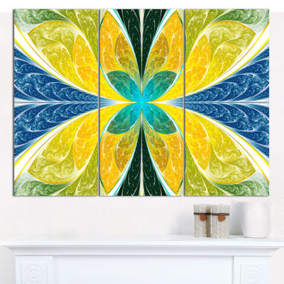 Designart Yellow Fractal Stained Glass Abstract Wall Art Canvas - 3 Panels