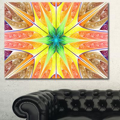 Designart Yellow Glowing Fractal Texture AbstractWall Art Canvas