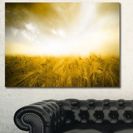 Designart Yellow Meadow Under Bright Sun LandscapeWall Art Canvas