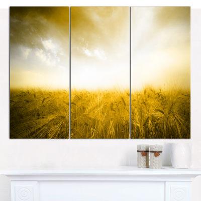 Designart Yellow Meadow Under Bright Sun LandscapeWall Art Canvas - 3 Panels