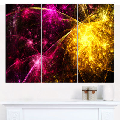 Designart Yellow Pink Colorful Fireworks AbstractWall Art Canvas - 3 Panels