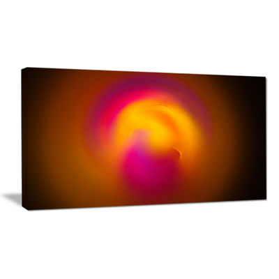 Designart Yellow Pink Misty Sphere On Black Abstract Wall Art Canvas