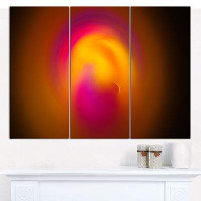 Designart Yellow Pink Misty Sphere On Black Abstract Wall Art Canvas - 3 Panels