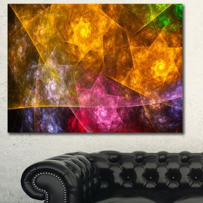 Designart Yellow Pink Rotating Polyhedron AbstractWall Art Canvas